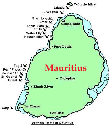 Map and History of the Artificial Reefs around Mauritius MMCS